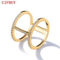 CIFBUY H Form Ringe Frauen Gold Farbe Gepflasterte Zirkonia Vintage Aussage Band