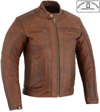 MENS DISTRESSED BROWN PREMIUM QUALITY LEATHER CE MOTORBIKE / MOTORCYCLE JACKET