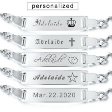 Women Baby Kid ID Name Plate Bracelet Chain Birthday Gift Personalized Engraving