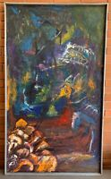 Vintage Abstract Shapes Oil Painting Wall Hanging Mid Century Modern Art Walters