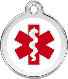 """Red Dingo """"Medical"""" Engraved Pet Dog & Cat ID Tag - Free Engraving"""