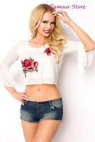 Sexy CAMICIA ESTIVA BIANCA taglia S,M,L,XL (40,42,44,46) blusa top donna GLAMOUR