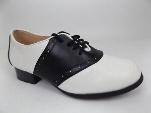 Ellie Shoes Women's 105 Saddle Shoes Lace up Loafers SZ 6.0, Black/White   19064