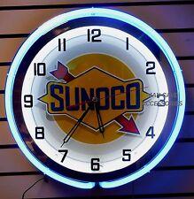 """18"""" SUNOCO Gasoline Sign Double Neon Clock Gas Station Oil Lube"""