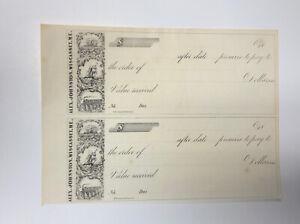 19th Century Uncut Remainder Sheet of 2 Bank Checks - Alex Johnston Wiscasset ME