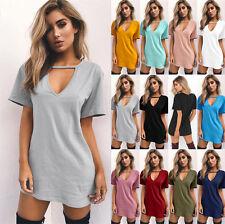UK Summer Womens Choker V Neck Casual Loose Tops T-shirt Party Mini Dress Blouse
