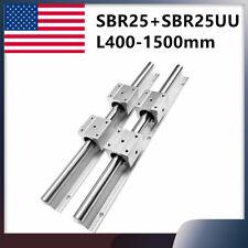 2pcs Sbr25 L400 1500mm Linear Rail Guide4pcs Sbr25uu Bearing Block For Diy Cnc