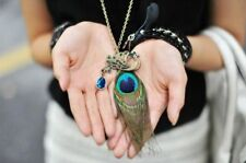Fashion Twinkling Crystal Rhinestone Peacock Feather Pendant Chain Necklace
