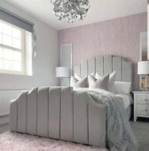 Plush Velvet Agra Sleigh Bed Frame With Memory Foam Mattress in All Sizes