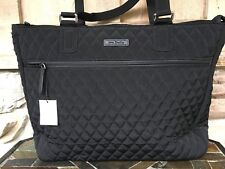Vera Bradley Xl Work Tote Classic Black Microfiber Quilted Computer Shoulder Bag