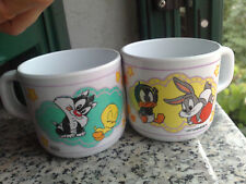 coppia Tazze baby 1997 Looney Toons Bugs Bunny Daffy Duck Titti Silvestro cups