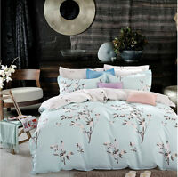 Floral Reversible Cyan / White Duvet cover Set 4 Pcs bedding Set 100% Cotton