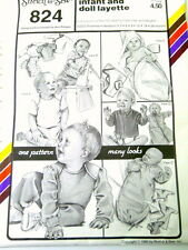 UNCUT Stretch and Sew Sewing Pattern 824 Infant and Doll Layette Newborn-24 Mo.
