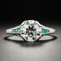 New Vintage 925 Silver Emerald Moissanite Gemstone Antique Couple Ring Wholesale