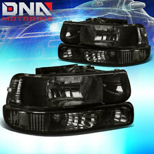 FOR CHEVY SILVERADO 1999-2002 SMOKED HOUSING CLEAR CORNER+BUMPER HEADLIGHT LIGHT