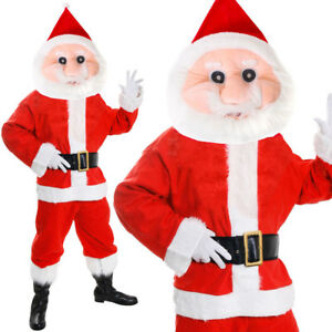 ADULTS SANTA CLAUS MASCOT SUIT FATHER CHRISTMAS COSTUME XMAS MENS FANCY DRESS