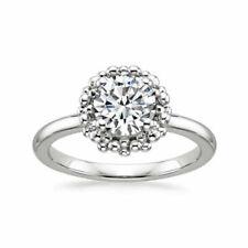1 1/4 Ct Natural Diamond 14k White Gold Halo Engagement Ring