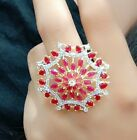 Royal AD Ring Sterling Jewelry Gold Tone Red Stone Fashion Dress Couple Indian