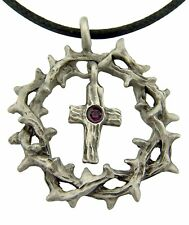 Crown of Thorns Pendant with Latin Cross Purple Crystal Center Necklace