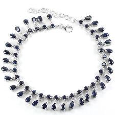 Sterling Silver 925 Genuine Natural Blue Sapphire Dangle Bracelet 7.25-8.75 Inch
