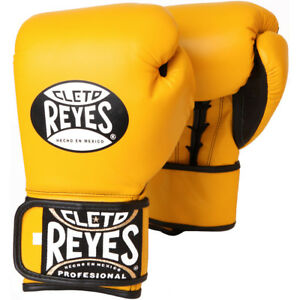 Cleto Reyes Lace Up Hook and Loop Hybrid Boxing Gloves - Yellow