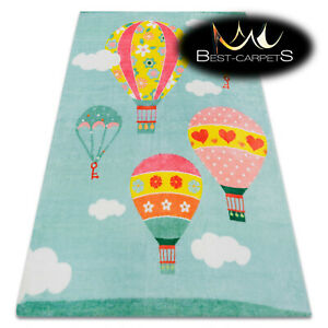 MODERN green thick & soft RUG for children 'PLAY' colorful Balloons Clouds