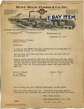 1929 LETTERHEAD Harvard ILLinois HUNT HELM FERRIS &CO Bell Megran Heatley Norton