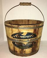 Antique Staved Wood Lard Bucket ARMOUR Shortening Advertising Pail
