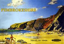 Pembrokeshire Travel by Train British rail  Train Rail Travel  Poster Print
