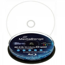 100 MEDIARANGE Blu ray BD-R 25GB 6X FULL PRINTABLE cake 10 PRINT INKJET mr500