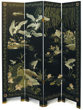 """4 Panel """"Cranes"""" Chinese Black Lacquer Screen/Room Divider"""