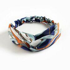 Fascia per capelli elastica donna nodo elegante blu celeste bianca fantasia