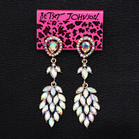 Women's Stud Earrings Colorful AB Crystal Dangle Earbob Betsey Johnson Earrings