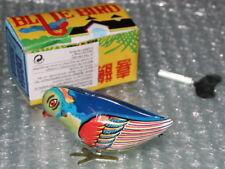 Blechspielzeug pickender VOGEL zum aufziehen Blechvogel Retro BLUE BIRD pickend