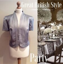 PHASE EIGHT SHORT JACKET BNWTS SIZE 18 SILVER GREY WEDDING PARTY COTTON LINEN