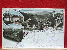 Farblitho - Gruss aus Gutenstein  gel. 1897  Bahnpoststempel - Schwidernochkarte