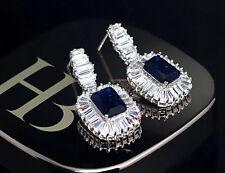 3ct CZ Dangle Drop Earrings Russian Cubic Zirconia sapphire princess bridal gift