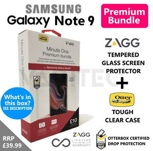 Zagg Note9 Glass Screen Protector and Otterbox Clear Case Samsung Galaxy Note 9