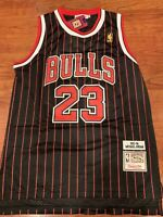 Michael Jordan #23 Throwback Chicago Bulls Black and Pinstripes Mens Jersey