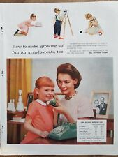 1957 Bell Telephone system little redhead girl green rotary dial Vintage ad