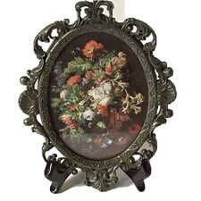 Round Oval Shape Italian Floral Picture Small Miniature Vintage Brass Frame