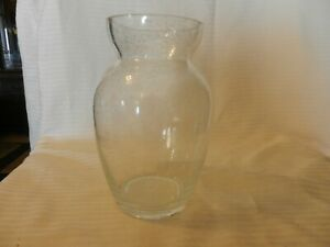 "Clear Bubble Glass Flower Vase 7.75"" Tall 3.25"" Opening"