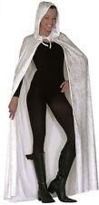 Deluxe White Velvet Hooded Cape Medieval Wedding Cloak  Fancy Dress 150 cm