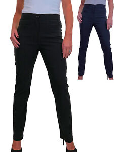 Ladies High Waisted Straight Leg Trousers With Slit Pockets Office School 6-16