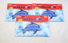 """Pack of 3 Jumbo 36"""" Blue Dolphin Foil Helium balloon - Sea Animal Balloons"""