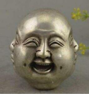 China Tibet silver 4 emotions four faces of Buddha head statue