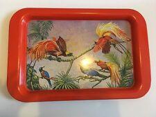 grand Plateau  EN métal  vintage  An 70's  decor oiseaux