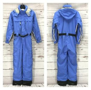 Obermeyer One Piece Ski Suit Juniors 16 Blue Coveralls Insulated Hooded