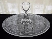 """Tiara Indiana Glass Clear Sandwich 12"""" Handled Party Server Platter Tray"""