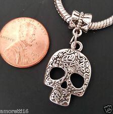 Sugar Skull Decorated Dangle Bead fits Silver European Charm Bracelets